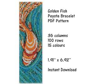 peyote brooch pattern #gold fish NO WORD CHART pdf pattern pdf file stitch pattern peyote pattern odd count