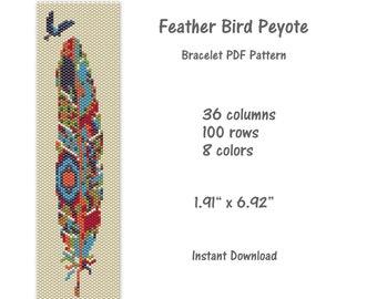 Peyote Stitch Turquoise Feather Bracelet Pattern