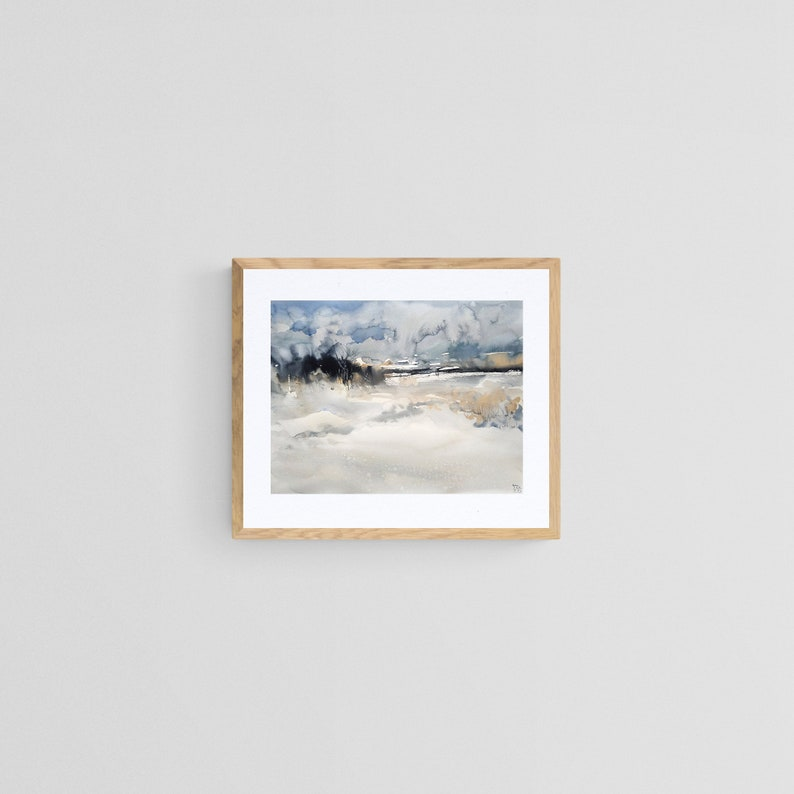 abstract painting Watercolor original abstract winter landscape painting 30x40 cm. watercolor on paper