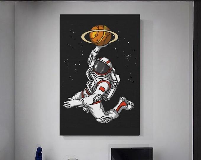 Astronaut basketball player Basketball Canvas Illustation Basketball Idea man cellar Basketball Wall decoration Sport on canvas