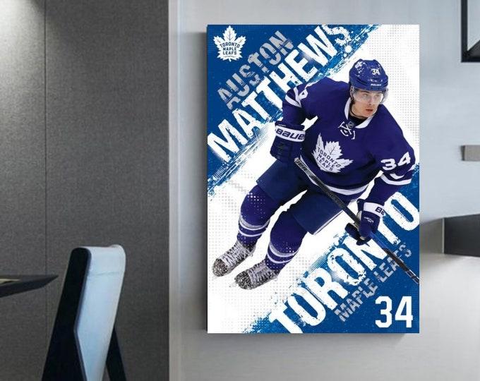 Auston Matthews canvas wall art for hockey fan