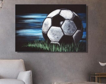 Soccer drawing on framed canvas Interior decoration decor house gift for soccer player football shop