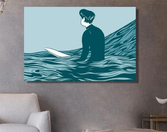 Surf canvas | Surfer sur la vague | surf wall art | décoration murale