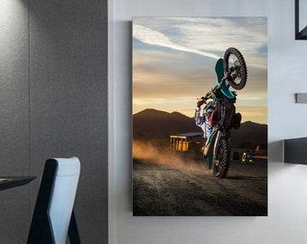 Dirt bike rear wheel photograph ' Canvas motocross Wall decoration Gift for teens Wall art prints Motocross shop