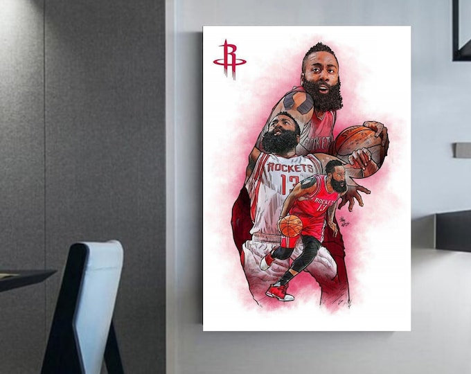 James Harden canvas Basketball poster - canvas NBA art NBA wall art prints James harden decor Sport poster Basketball decor idea