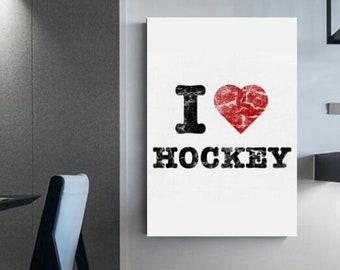 I love hockey Canvas for Hockey Player Decoration for hockey fans Wall decor Gift for hockey players Wall decoration