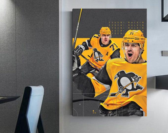 Evgeni Malkin wall art Pitsburgh canvas Malkin hockey decoration