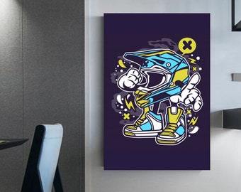 Illustration of motocross helmet Wall decoration  Motorcycle lovers Dirt bike lover motocross gift art prints motorcycle ' Canvas