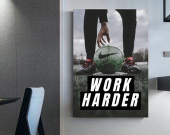 Soccer practice photography work harder quote soccer Home-decorated decorations soccer canvas art wall football wall decoration