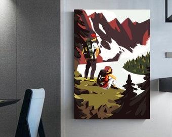 Hiking couple canvas   Randonné   wall art illustration   décoration murale   cadeau randonneur   canvas nature framed   Prints