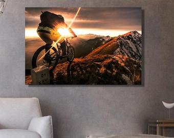Mountain bike canvas ' Nature canvas Sun-ed photography moutain bike Wall decoration Idea deco