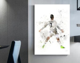 Christiano Ronaldo (c) gift for soccer player canvas Interior wall decoration home décor soccer fan shop