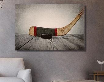 Photography hockey stick ' Canvas wall art print hockey print on canvas hockey shop hockey scenery Dad gift idea