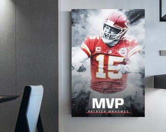 Patrick Mahomes Football wall art prints Mahomes wall art canvas NFL Canvas (c) Sports prints art Home decor St Patrick Mahomes art