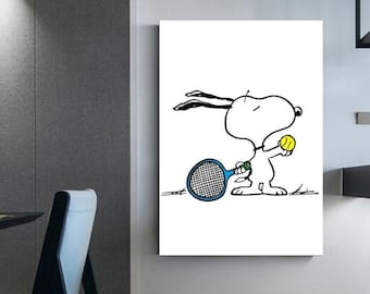 Snoopy wall art Tennis decoration Decoration for tennis players Fictional character on canvas Charlie Brown Tennis décor