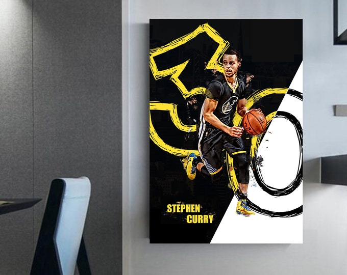 Stephen Curry NBA wall art 30 Stephen Curry canvas Basketball prints Stephen curry art Basketball gifts Curry gifts wall art
