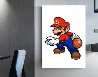 Mario Bros. Basketball Player Basketball Decoration Video game enthusiast Canvas wall art Mario Basketball Art canvas decoration