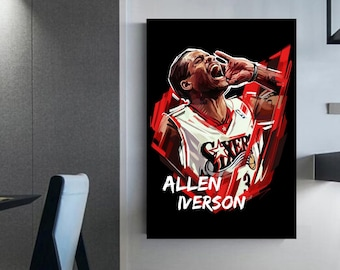 Allen Iverson poster 'canvas' Art work Iverson Wall frame Indoor basketball decoration idea deco basketball player Dad gift
