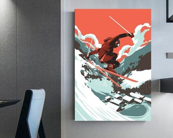 Ski illustration ski frames  canvas art prints skiing Winter sport decoration in love with skiing Skiing poster Wall canvas