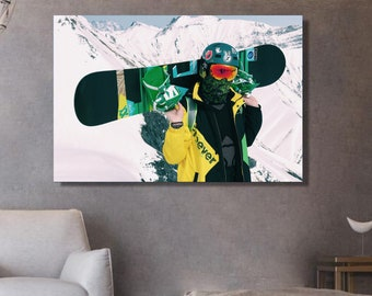 Photography of snowboarder snowboarding prints snow poster extra wide canvas snow decorating snowboarder