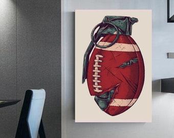 Hot potato! Football pomegranate illustration Canvas football football Wall art Interior decoration Gift Idea Prints wall