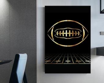 Golden football ball illustration Wall decoration Canvas football Soccer field Idea decor room Man cellar Poster Prints