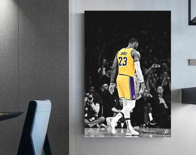 Lebron James picture framed King of L.A. Lebron james canvas Basketball wall art Home decor basketball Lebron james art poster Nba