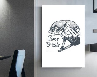 Time to ride Ski illustration snowboarding Decoration for winter lovers Wall decoration Wall art home décor