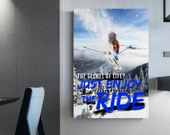 Ski Quotes Ski lovers Canvas skiing Wall decoration Skiing Quotes Wall art Extra wide poster on wall
