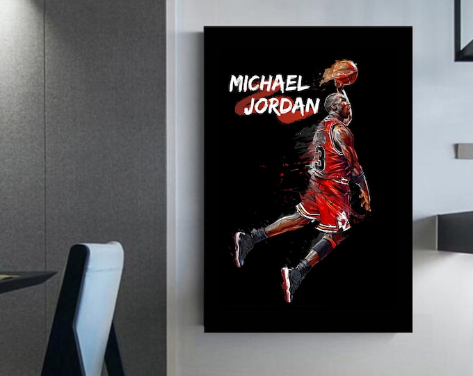 Micheal Jordan canvas basketball frame Basketball decoration Micheal Jordan prints art Wall art Michael Jordan Gift idea