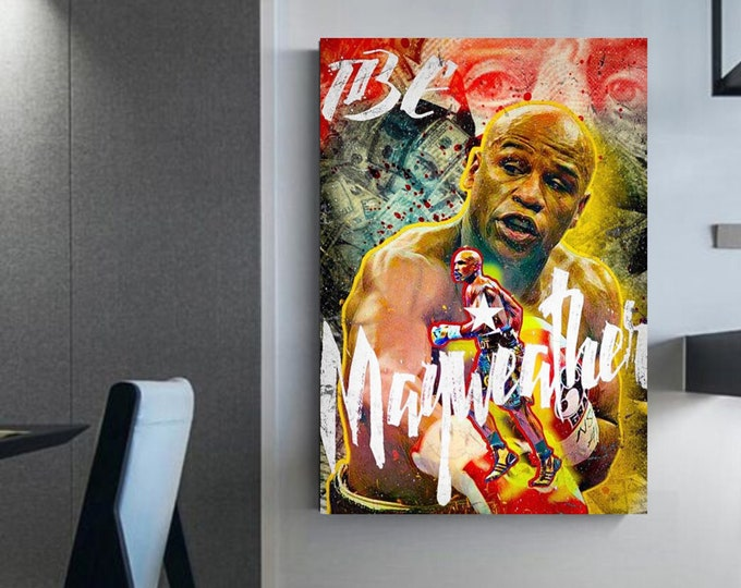 """Floyd """"Money"""" Mayweather Boxing canvas decoration for the home boxing wall art illustration of floyd mayweather"""