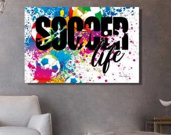 Soccer drawing on framed canvas soccer canvas Interior decoration wall art gift for soccer player football shop