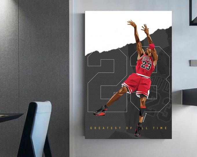 Michael Jordan wall art NBA canvas Michael Jordan's painting shot Jordan 23 The greatest of all time NBA Stars MJ shot canvas