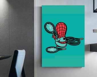 Spider-man illustration tennis ' Super hero print on canvas Wall decoration - decoration for children's bedrooms Large canvas of art