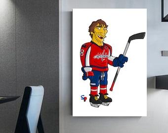 Aleksandr Ovechkin Simpson's Version Capitals Ovechkin player Hockey canvas Ovechkin wall decoration Dad's Gift Man cellar decor