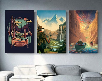 Road trip nature canvas collection 3 hiking frames hiking in backpacking Wall decoration wall art Adventure Sweet home