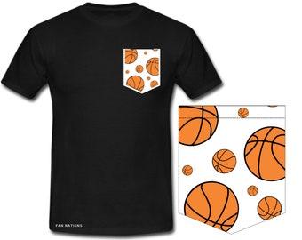 T-shirt with basketball pocket For Basketball Fans Sweater pocket with basketball motif basketball player gift