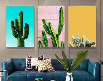 Cactus collection color yellow, blue and pink Perfect interior decoration