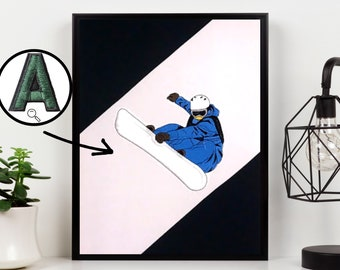 Snowboarding embroidery Snow Wall Decoration Deco Idea for Teens Unique decoration