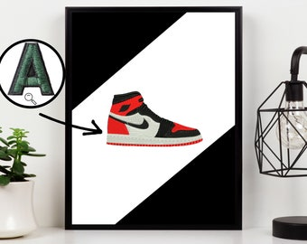 Sneaker embroidery on canvas Textile art for your wall decoration