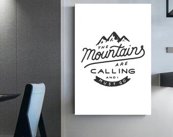 Illustration Mountains are calling and i must go Quote snowbording ski Winter Wall Art Home-decorated decorations snow Ski