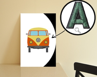 Hippie van embroidered on canvas for beautiful wall decoration canvas wall art hippie Embroidery mural