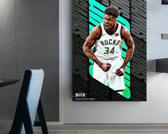 Giannis Antetokounmpo canvas wall art basketball NBA poster Giannis antekounmpo framed basketball wall decoration basketball gift