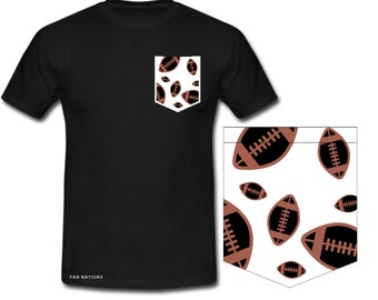 Short sleeve with pocket of American football ball pattern Football fan gift idea of American football ' Nfl t shirt