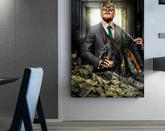 Connor McGregor Fortune Money whiskey canvas money canvas Wall art money Ufc decor King canvas wall art king money