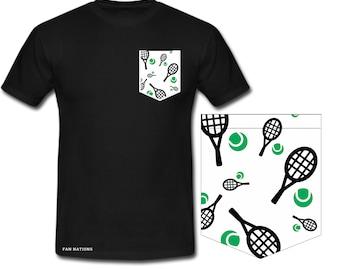 t-shirt tennis For tennis lovers Racket pocket and tennis ball motif Unique design on tennis tennis pocket