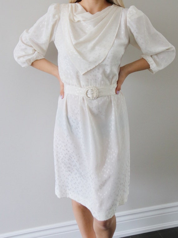 60's / 70's White Day Dress with Subtle Ribbon Pat