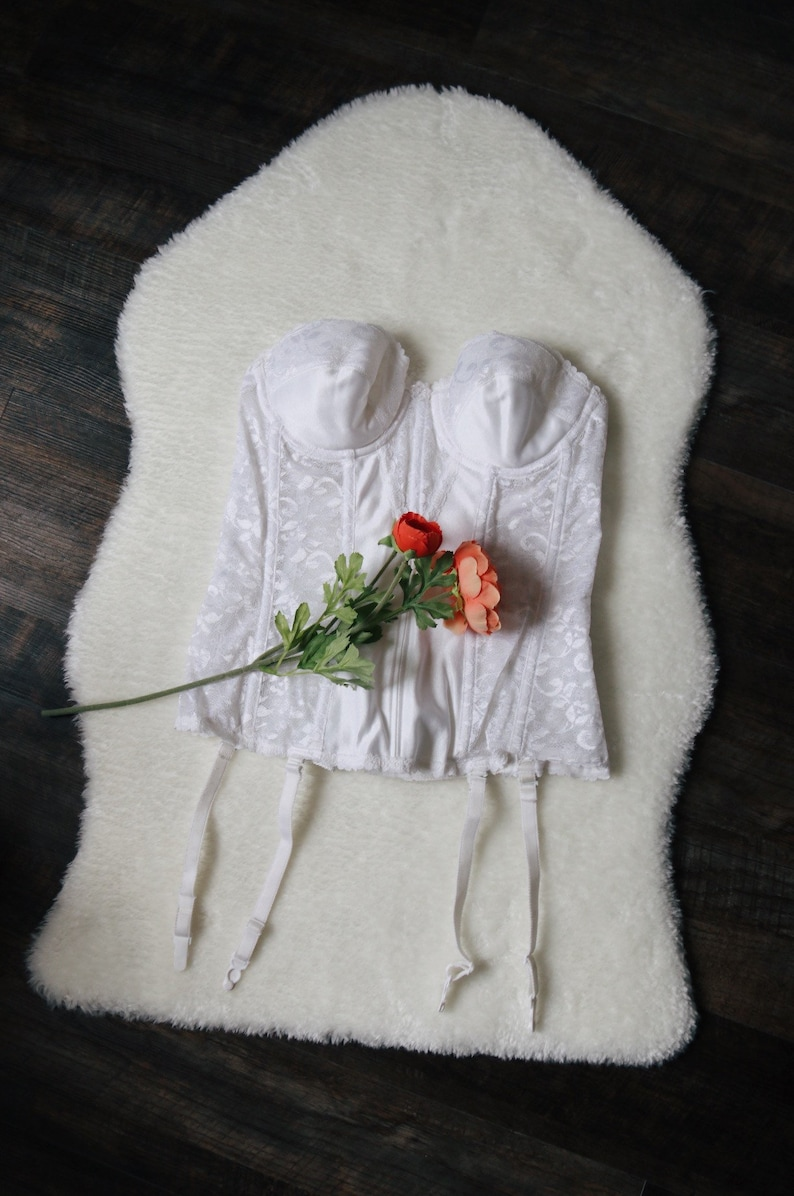 80\u2019s White Lacy Bustier  Corset Top with Garter Straps