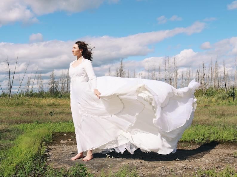 The \u201cLena\u201d Vintage 70\u2019s  80\u2019s Long Sleeve Empire Waist White Lace Wedding Gown