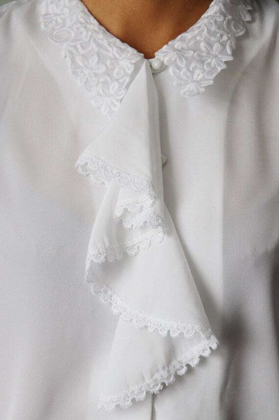 Victorian / Edwardian Inspired White Ruffle Blouse - image 7